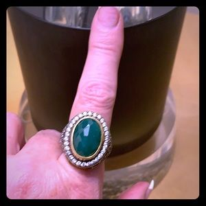 Jewelry - 925 Silver gilded emerald ring